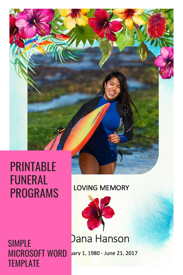Hawaiian Funeral Service Program Template