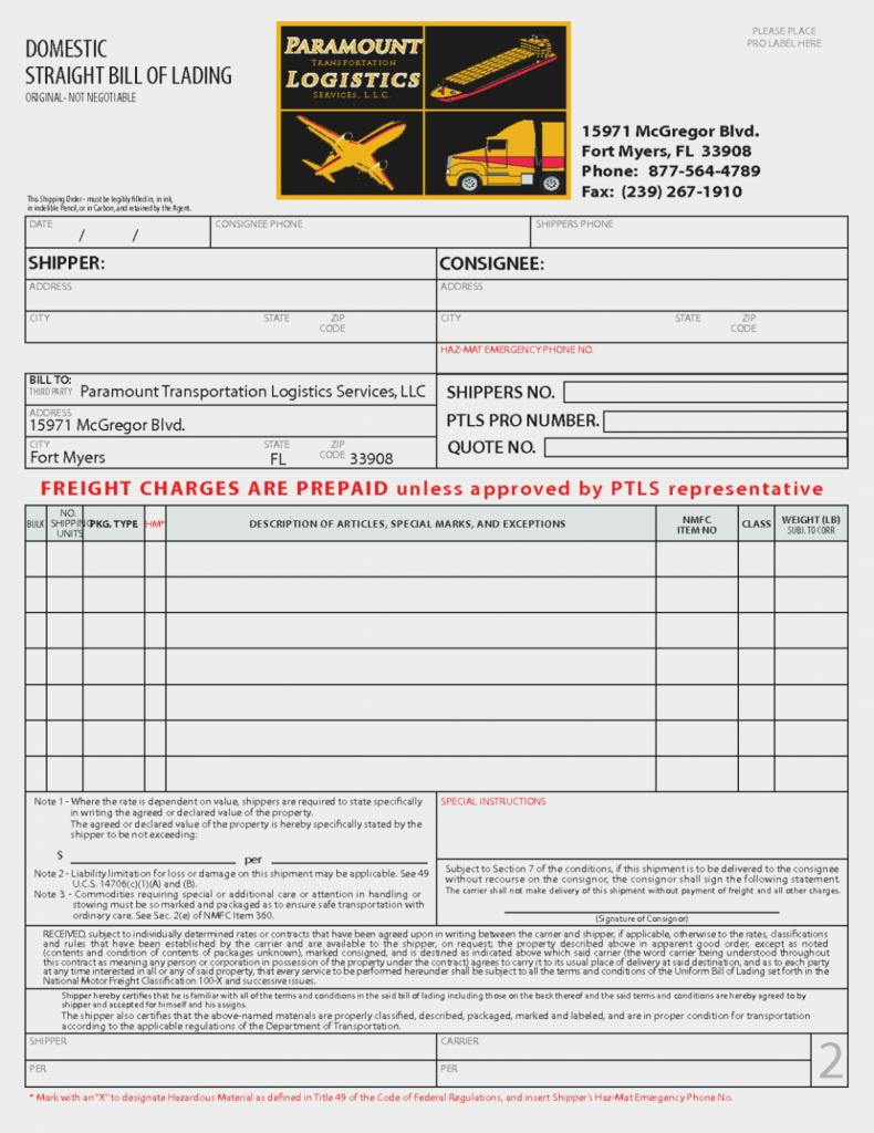 Hazardous Material Bill Of Lading Template