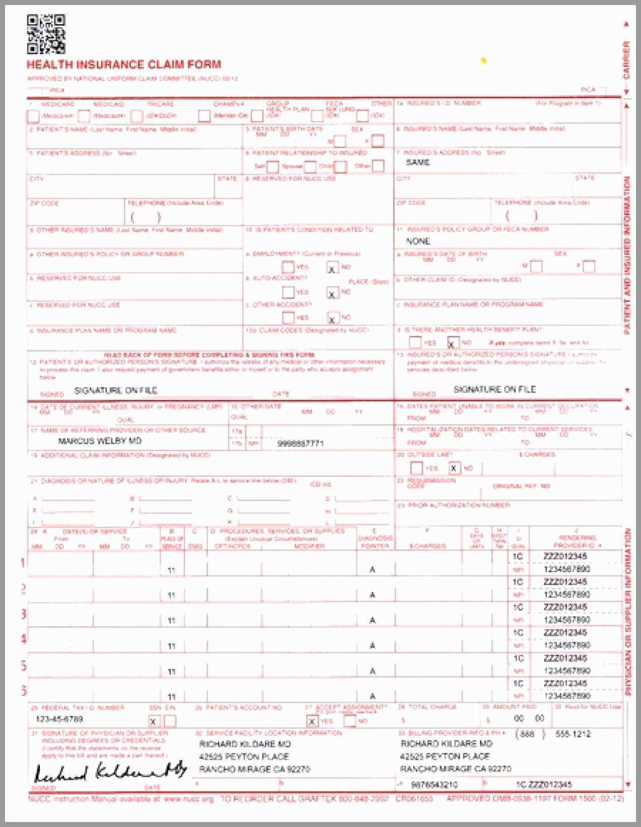 Hcfa 1500 Excel Template