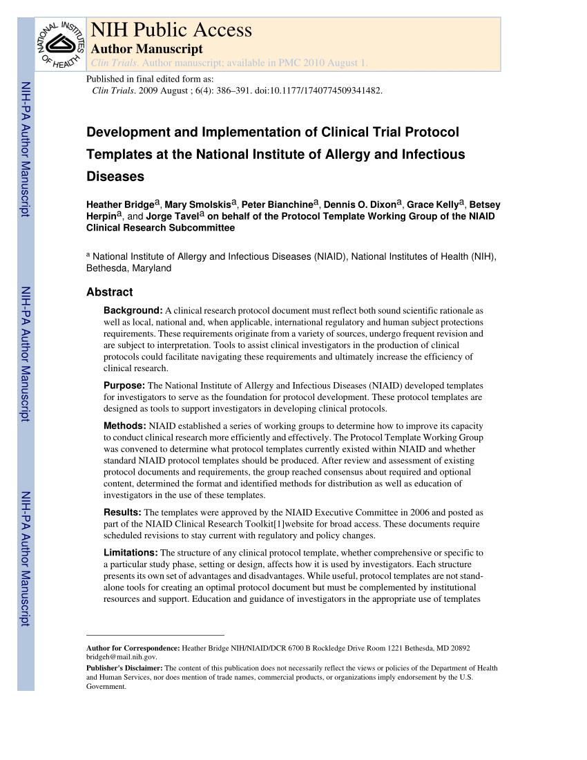 Health Canada Clinical Trial Protocol Template