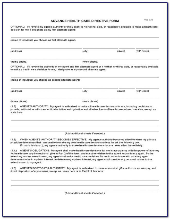 Health Care Directive Form California