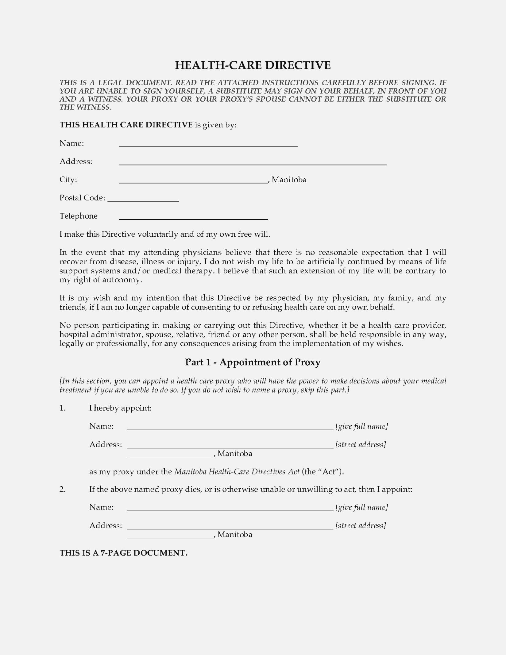 Health Care Directive Form Manitoba