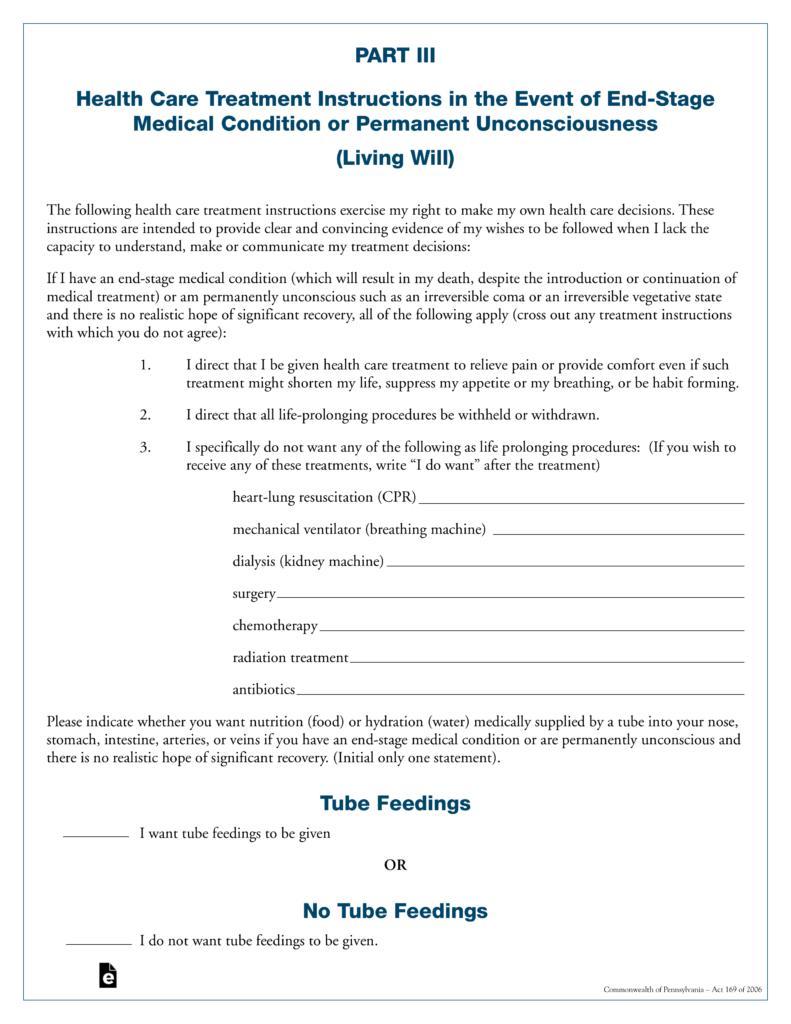 Health Care Directive Form Pennsylvania