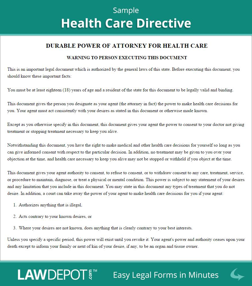 Health Care Directive Template