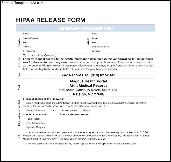 Health Records Release Form Template