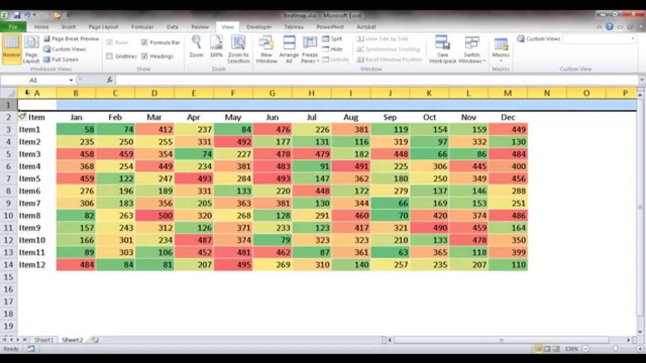 Heat Map Excel Sample