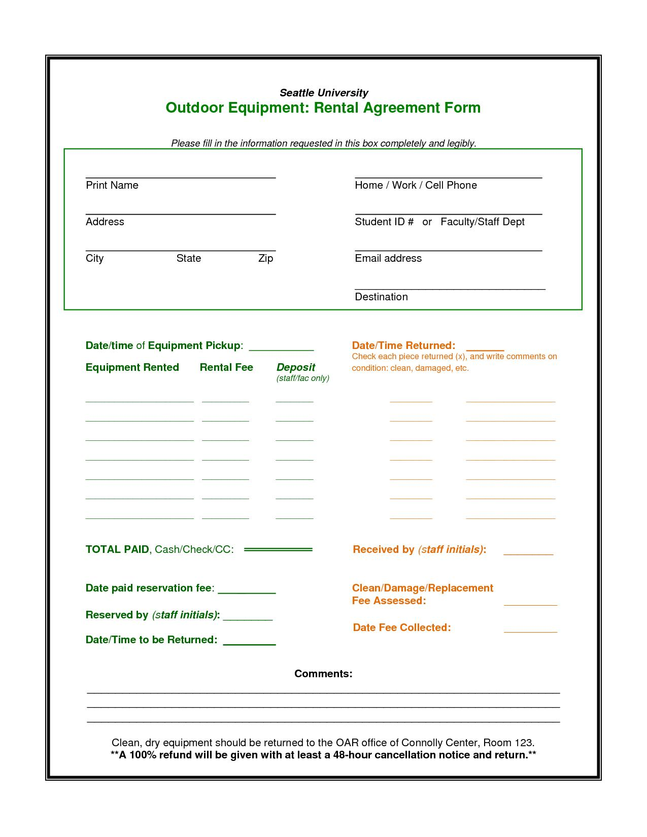 Heavy Equipment Lease Agreement Template