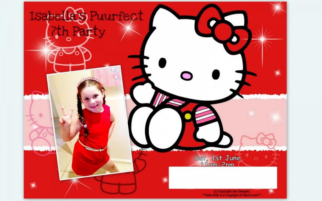 Hello Kitty 7th Birthday Invitation Template