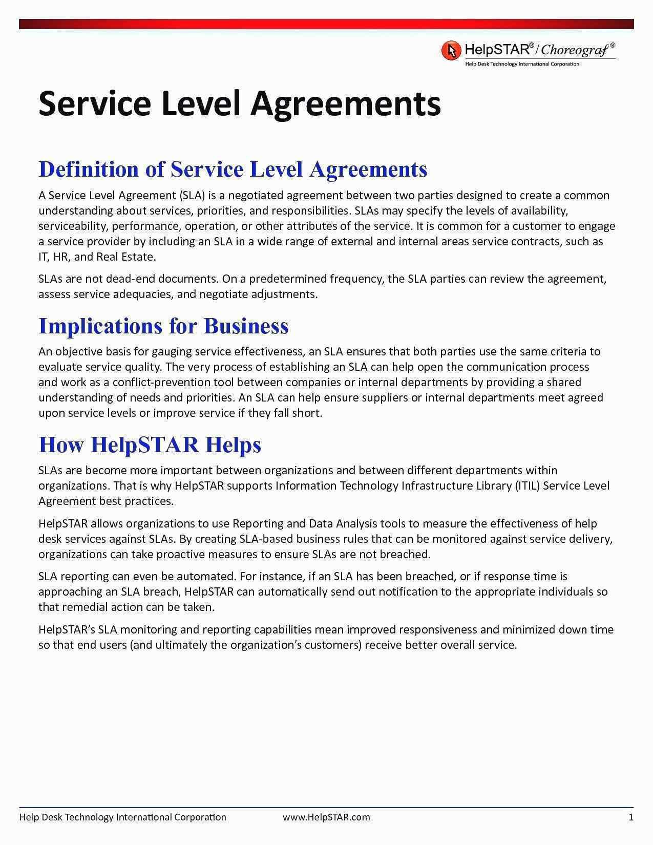 Help Desk Service Level Agreement Template