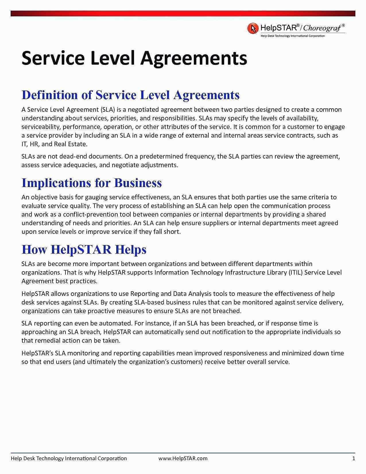 Help Desk Service Level Agreement Template