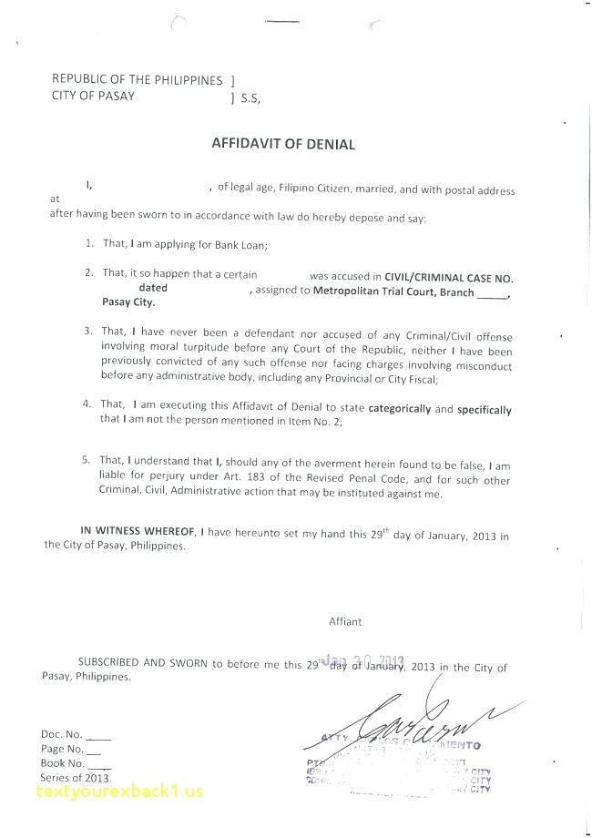 High Court Affidavit Template