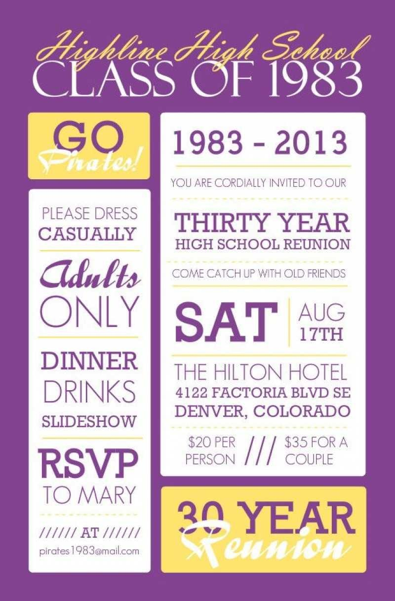 High School Reunion Invitation Flyer Template