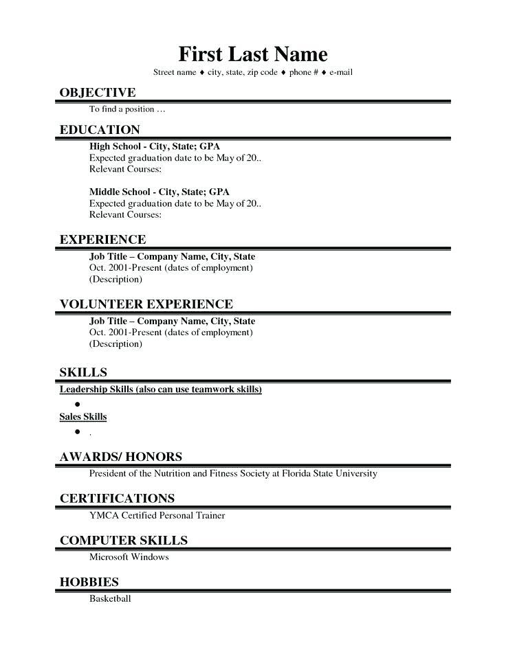 High School Student Resume Template Canada
