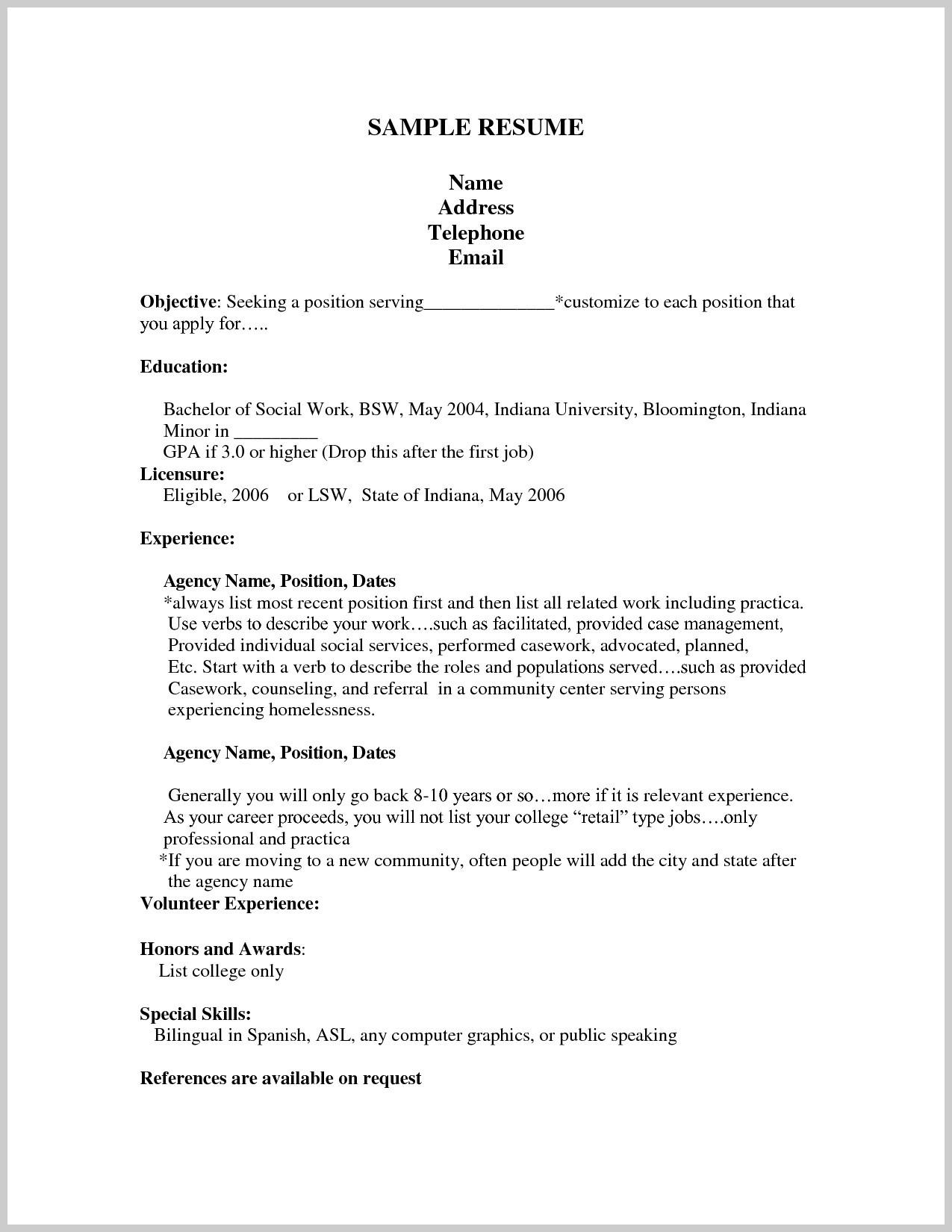 High School Student Resume Template No Experience Pdf