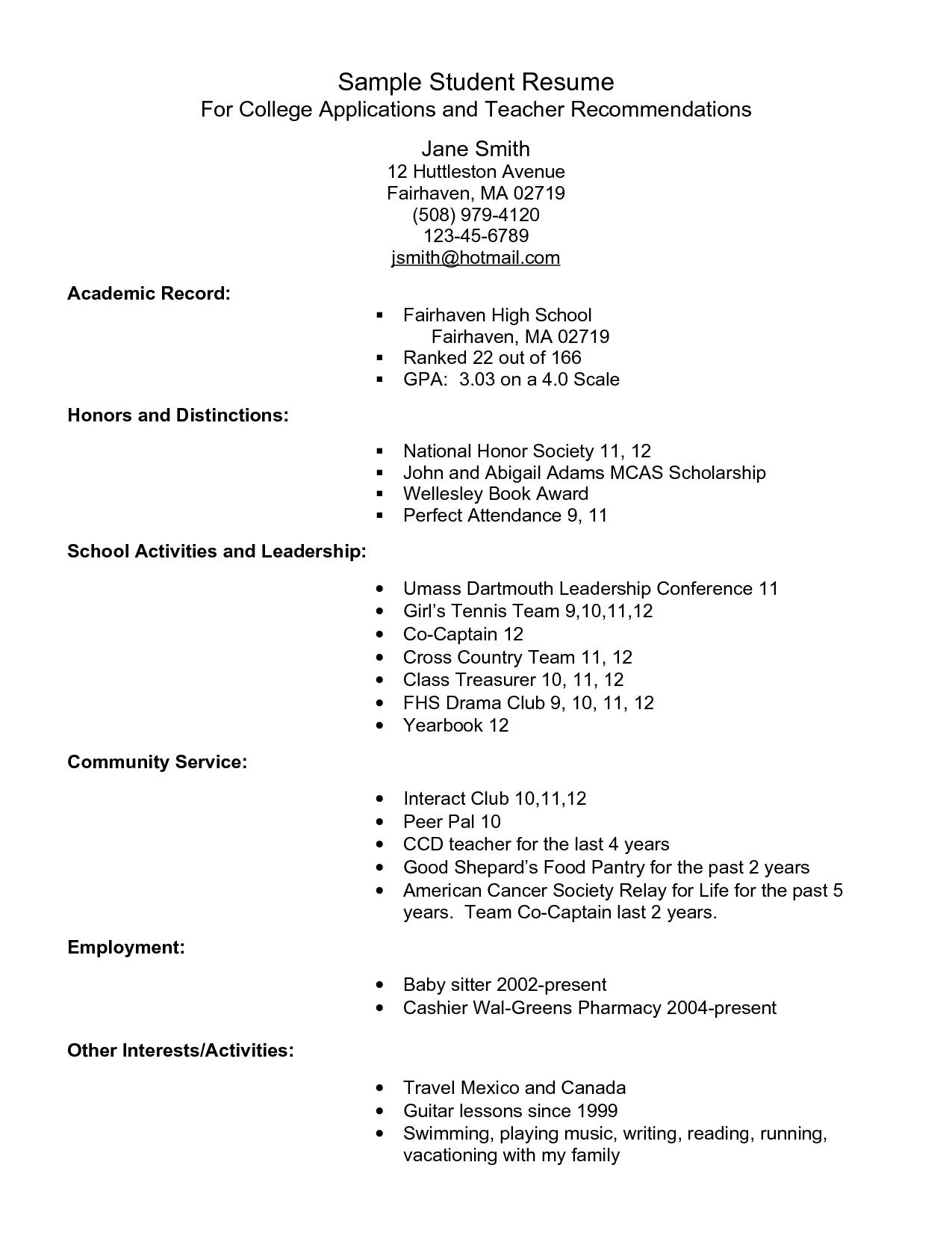 High School Student Resume Template Pdf