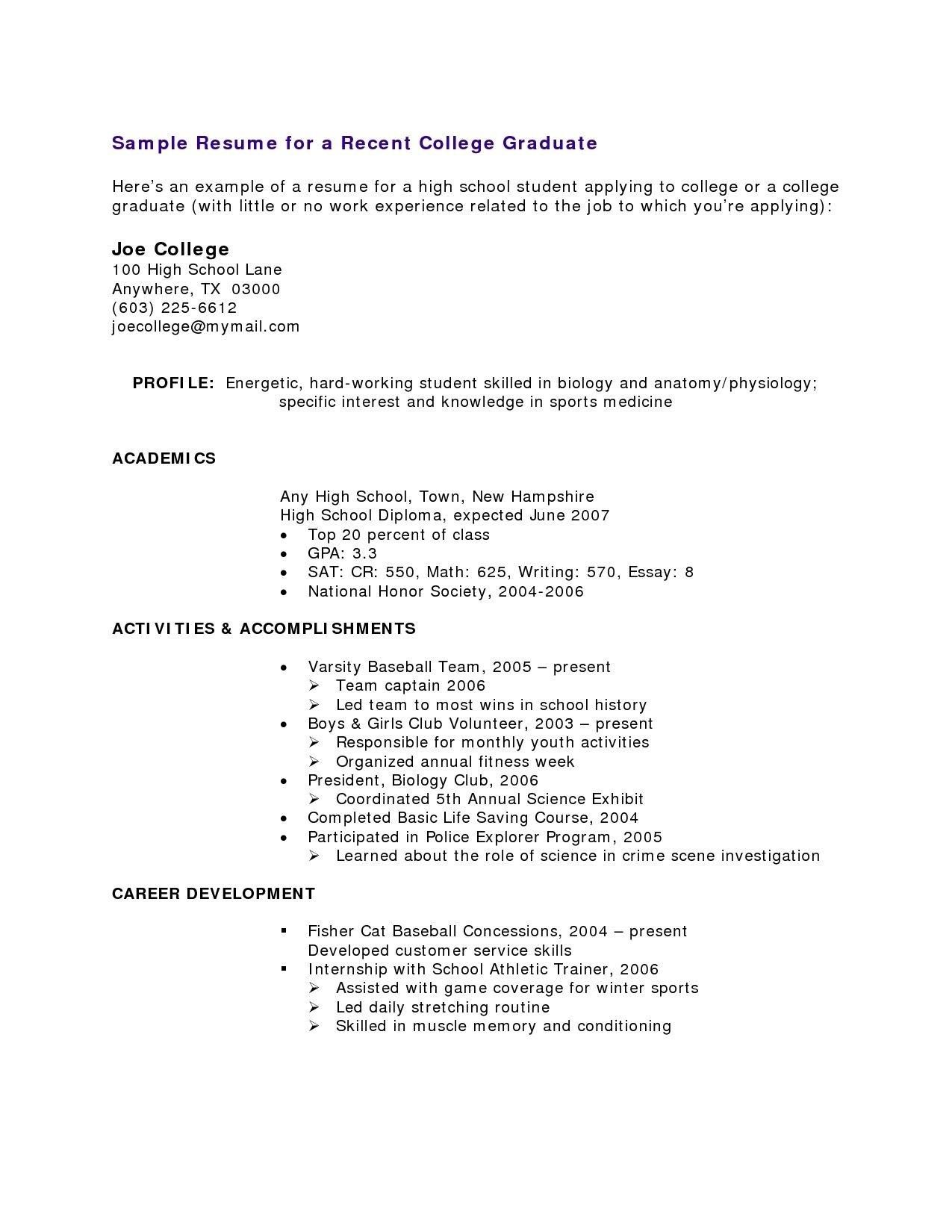 High School Student Resume Templates Free