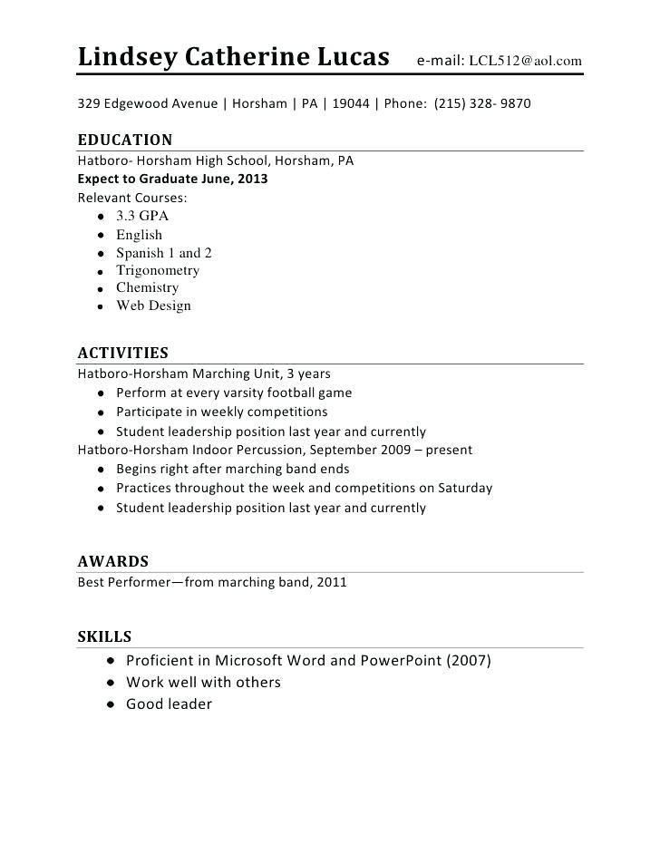 High School Student Resume Templates Microsoft Word