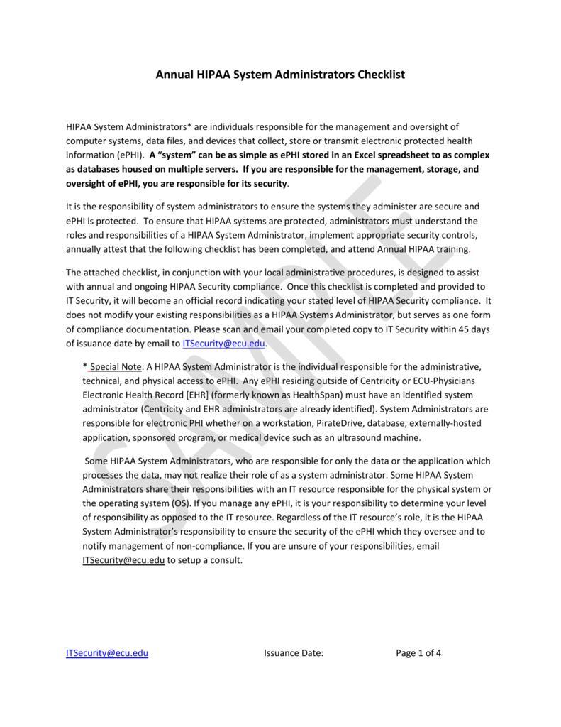 Hipaa Compliance Checklist Template