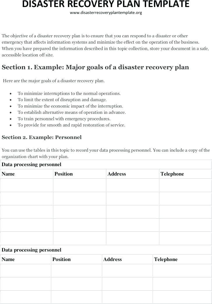Hipaa Disaster Recovery Plan Template Free