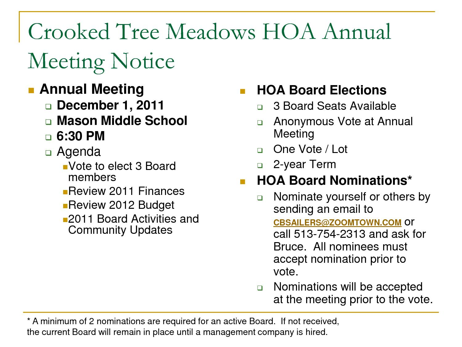 Hoa Annual Meeting Agenda Template