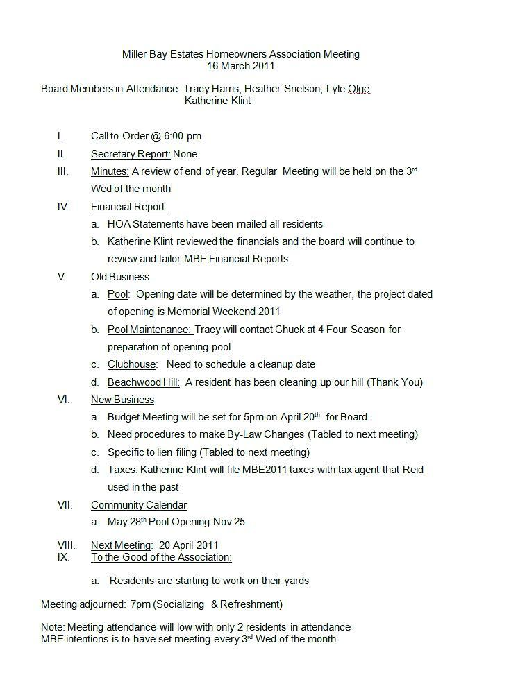 Hoa Board Meeting Minutes Sample