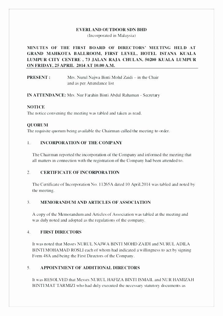Hoa Meeting Minutes Sample