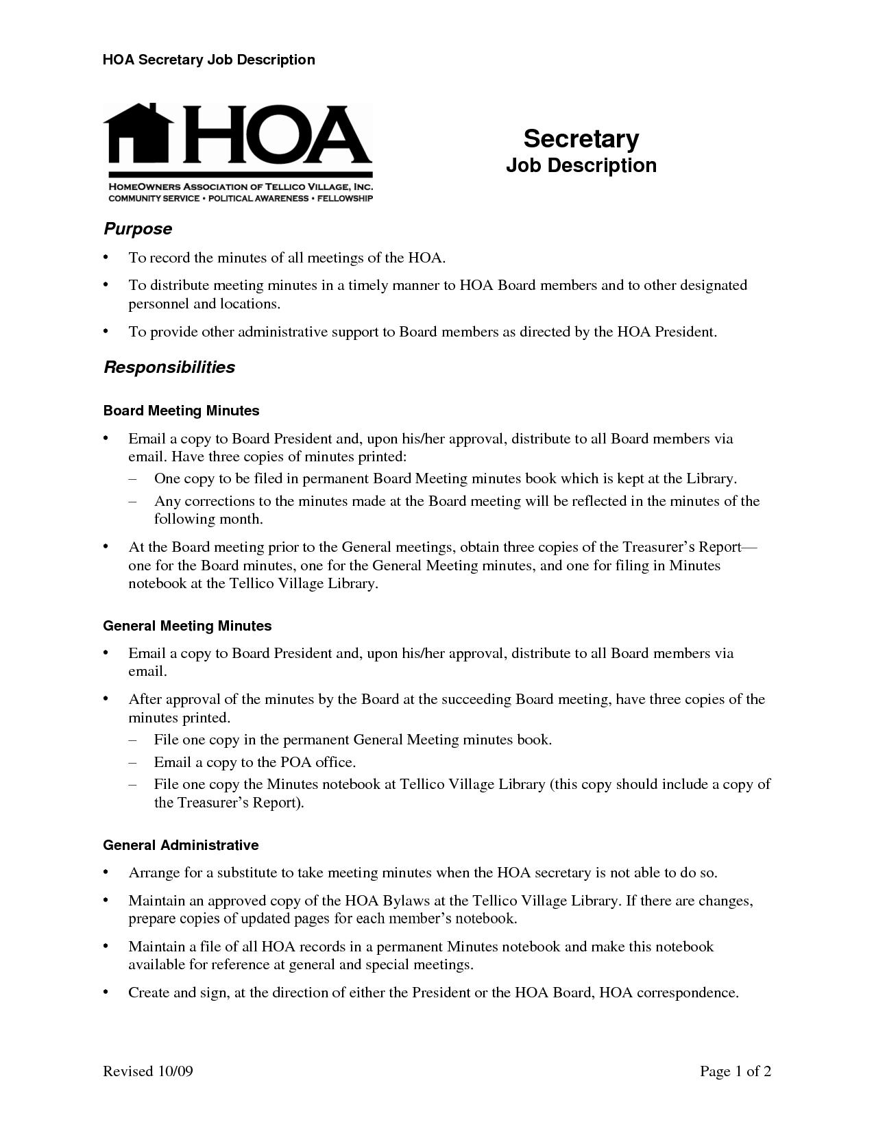 Hoa Meeting Minutes Template