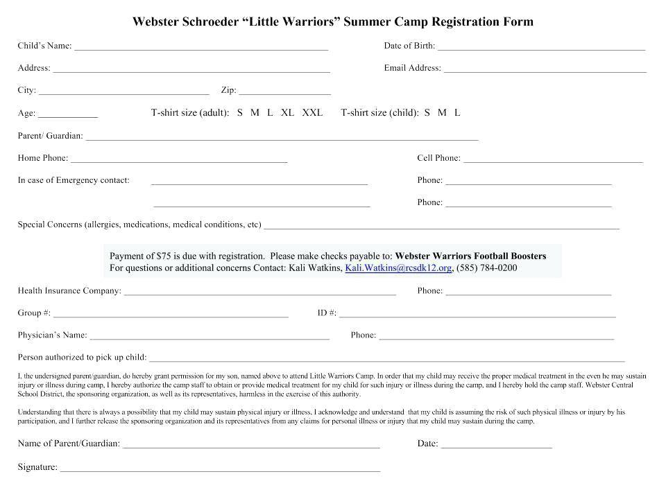 Hockey Camp Registration Form Template