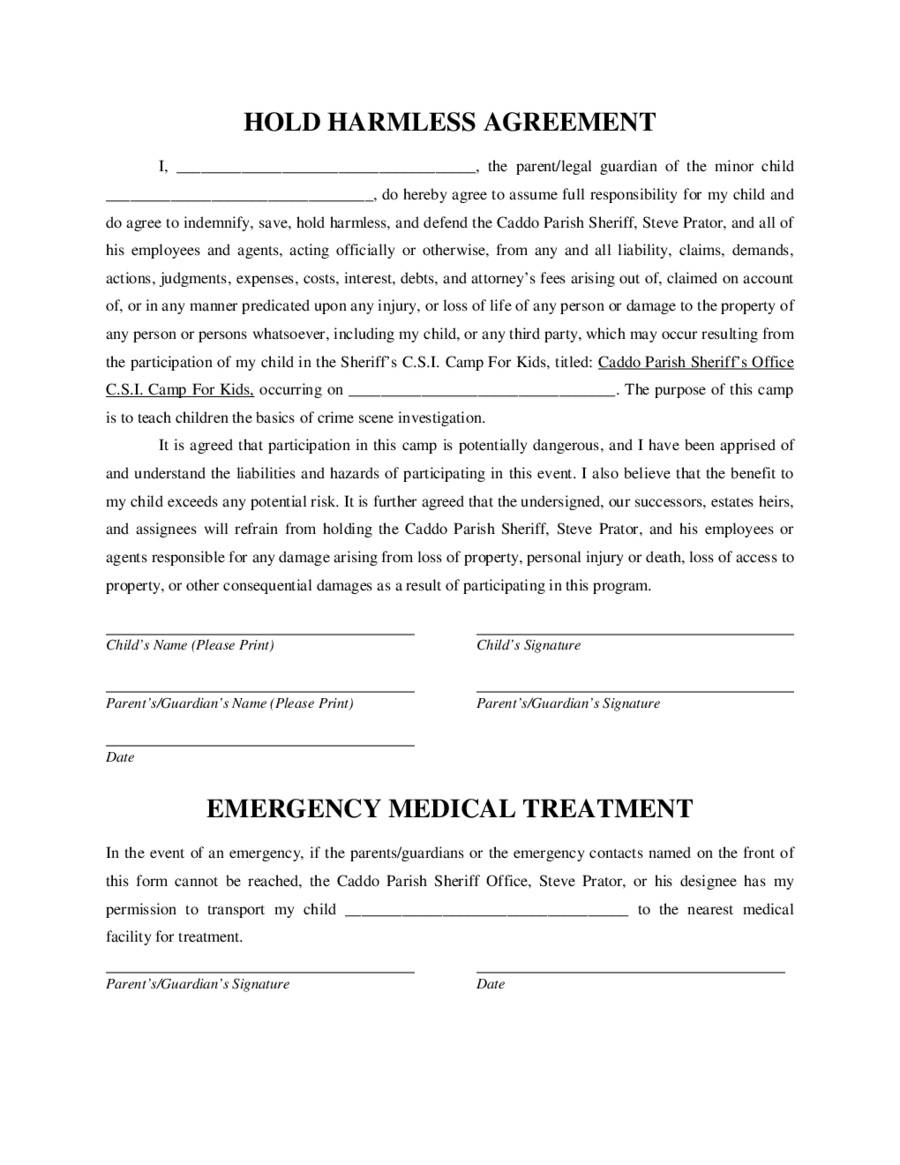 Hold Harmless Agreement Form Pdf