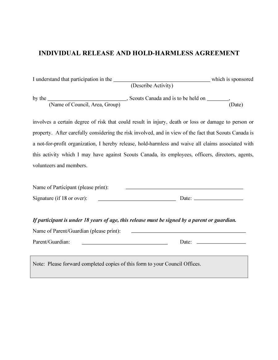 Hold Harmless Agreement Sample Wording