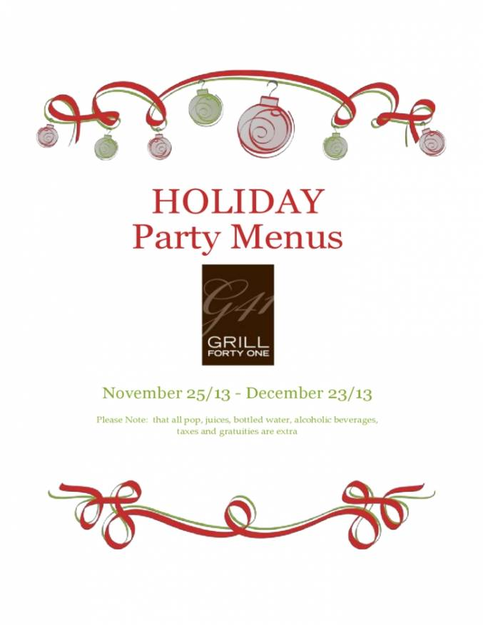 Holiday Party Menu Template