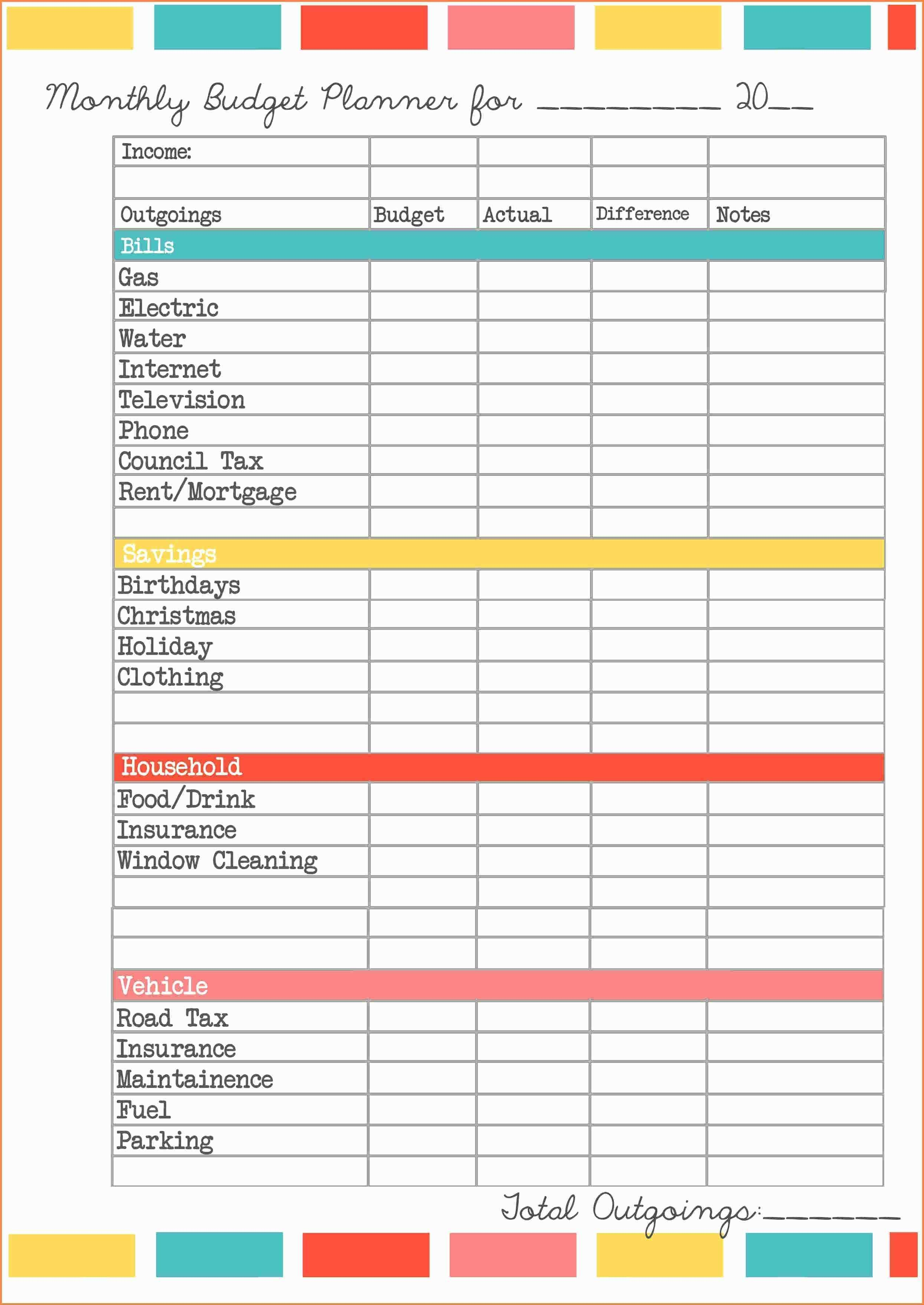 Home Budget Excel Sheet Template