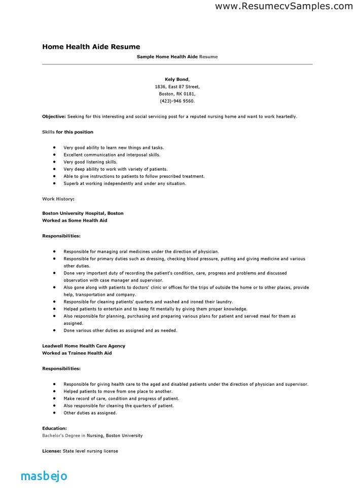 Home Health Aide Resume Examples