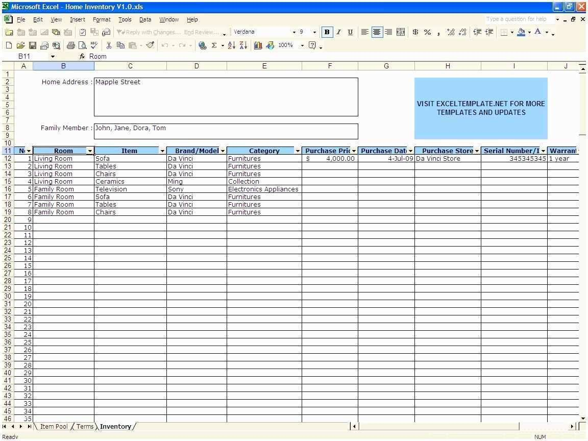 Home Inventory Excel Template Free