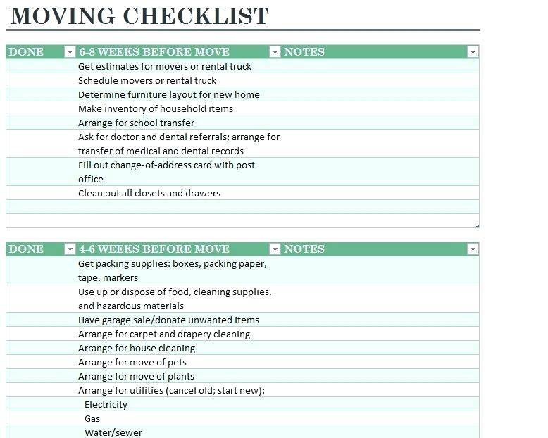 Home Moving Inventory List Template