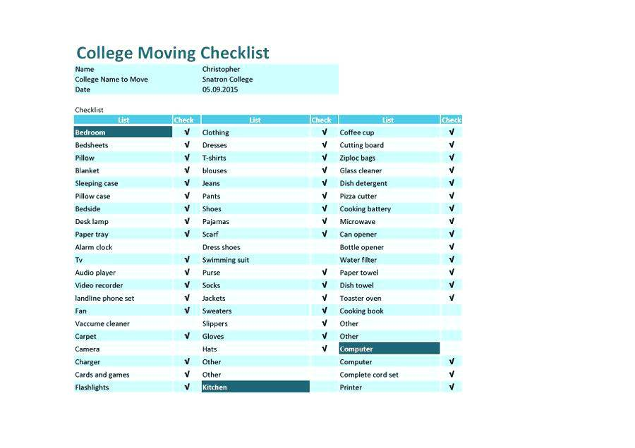 Home Moving Packing List Template
