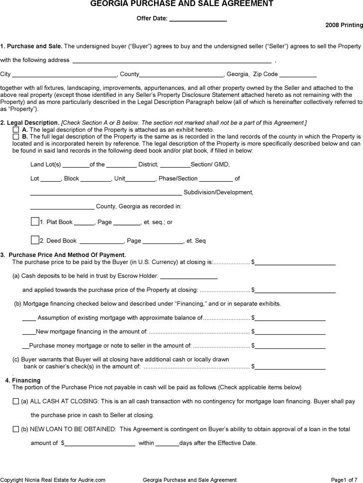 Home Purchase And Sales Agreement Template