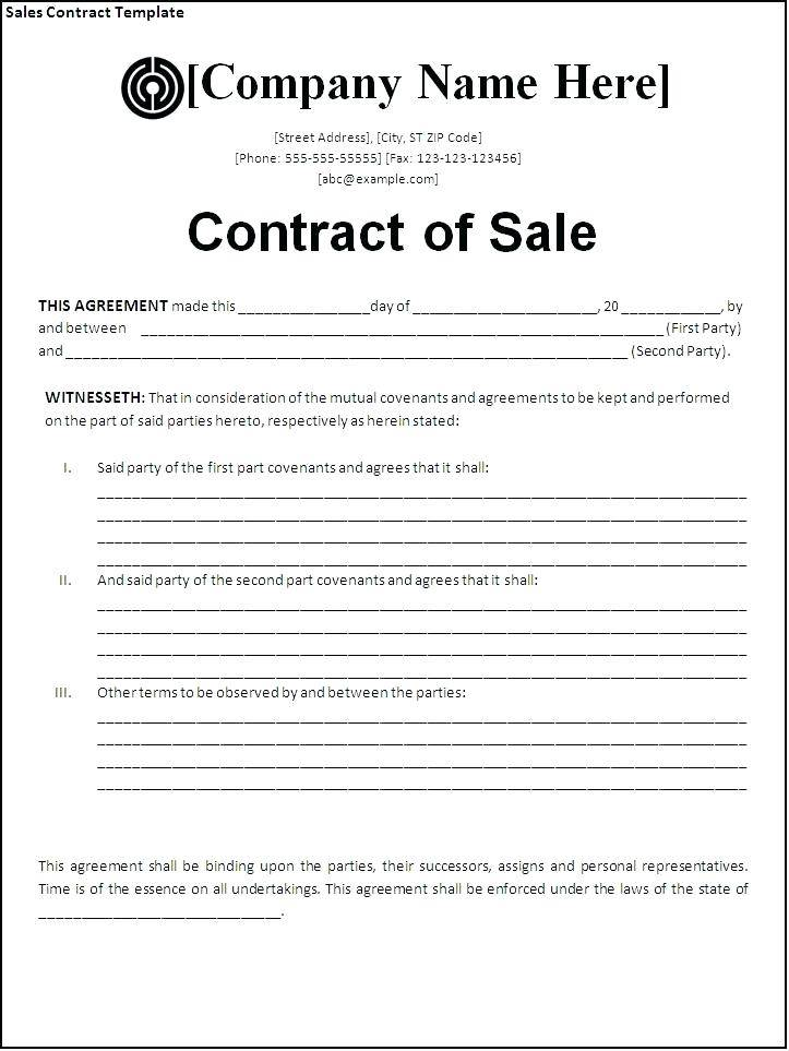 Home Sales Contract Template Free