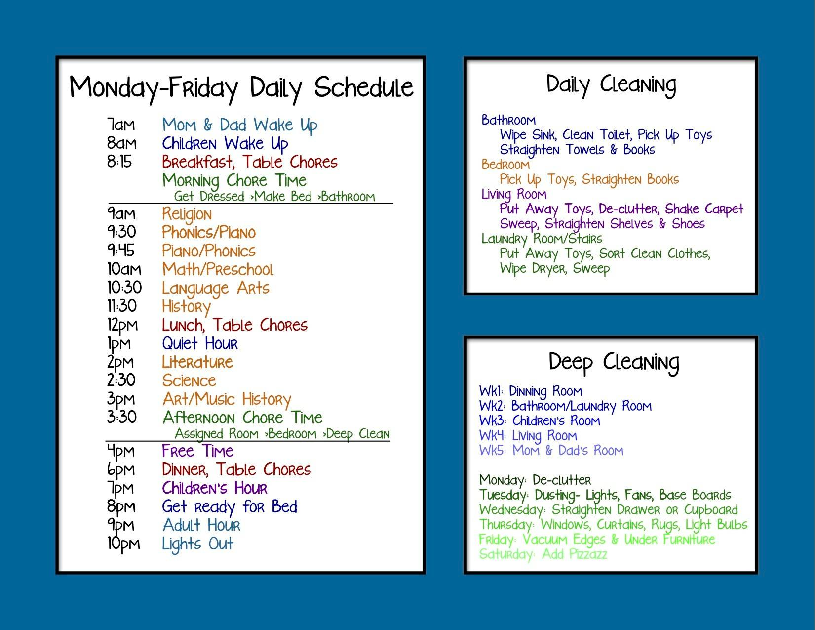 Homeschooling Daily Schedule Template
