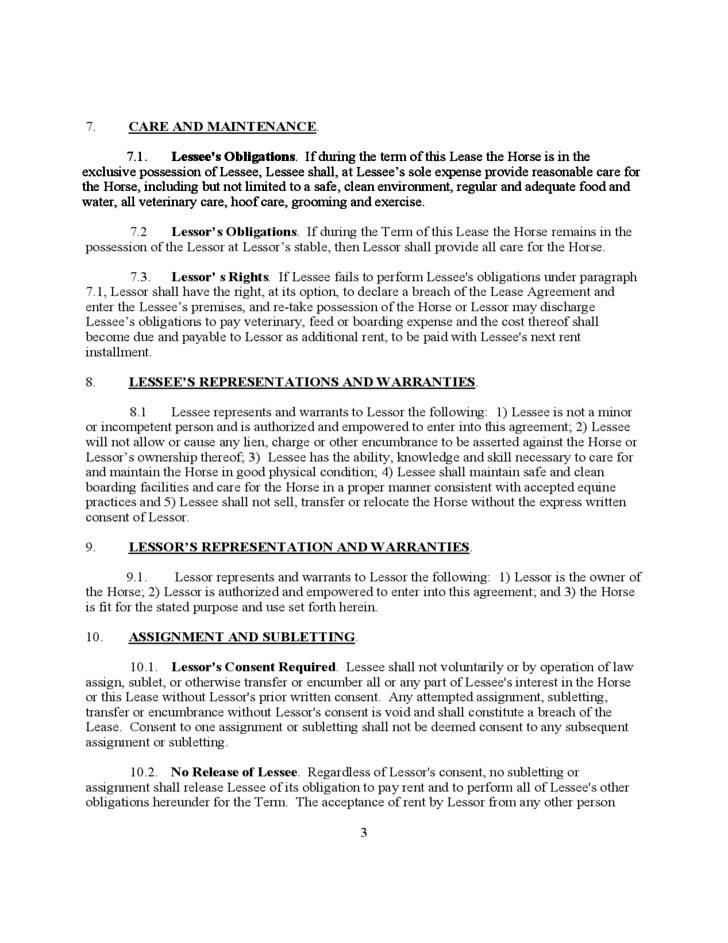 Horse Lease Agreement Form Free Download