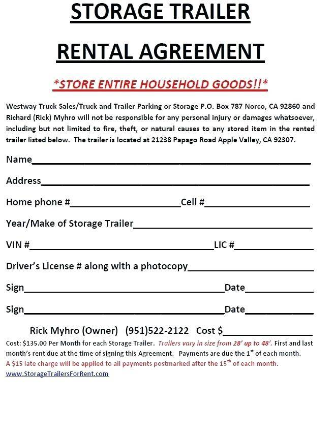 Horse Trailer Rental Agreement Forms