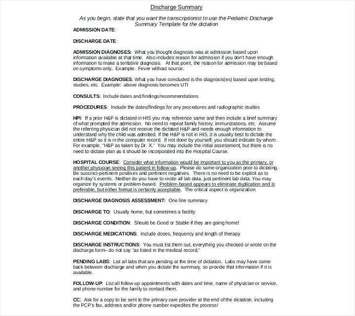 Hospital Discharge Instructions Template
