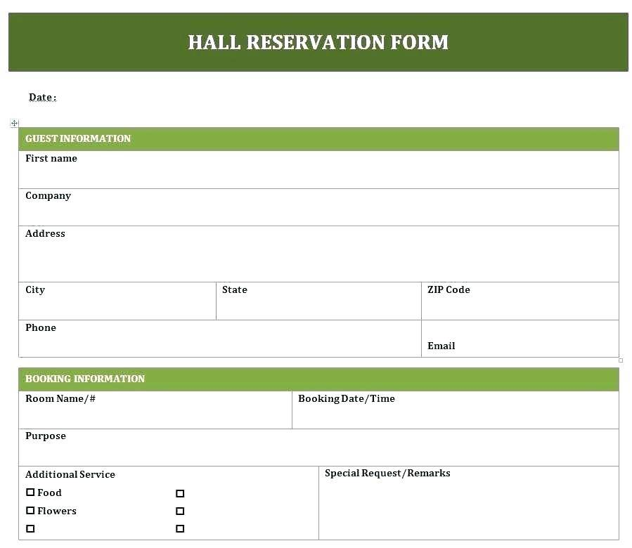 Hotel Booking Form Template Free Download
