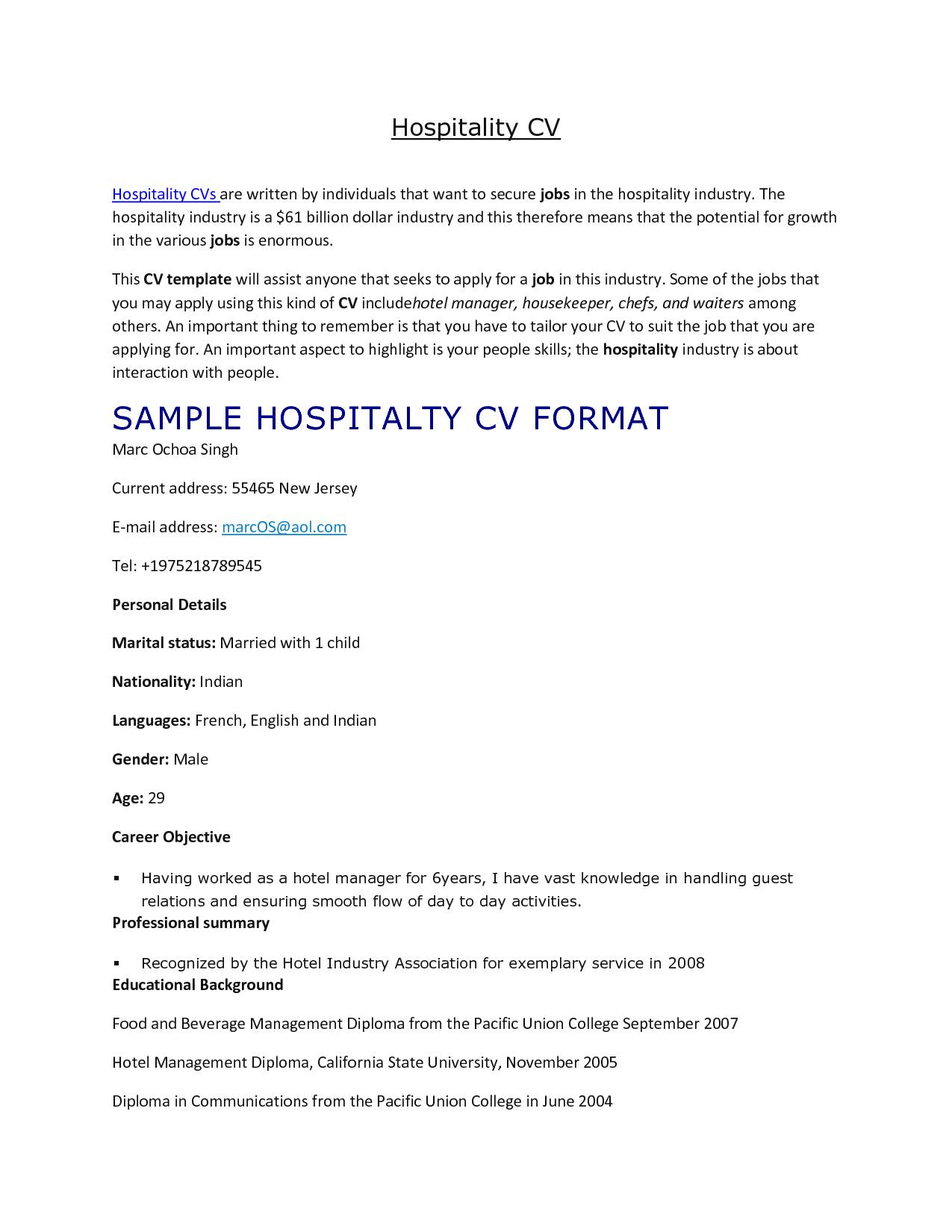 Hotel Management Resume Templates