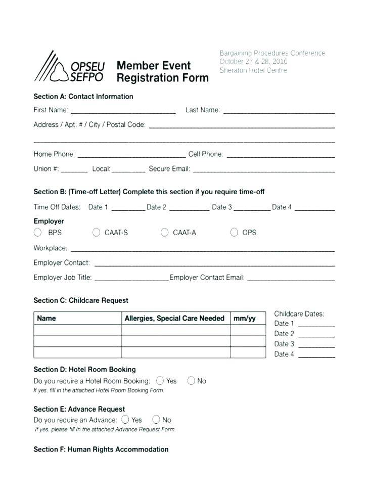Hotel Registration Form Template Free Download