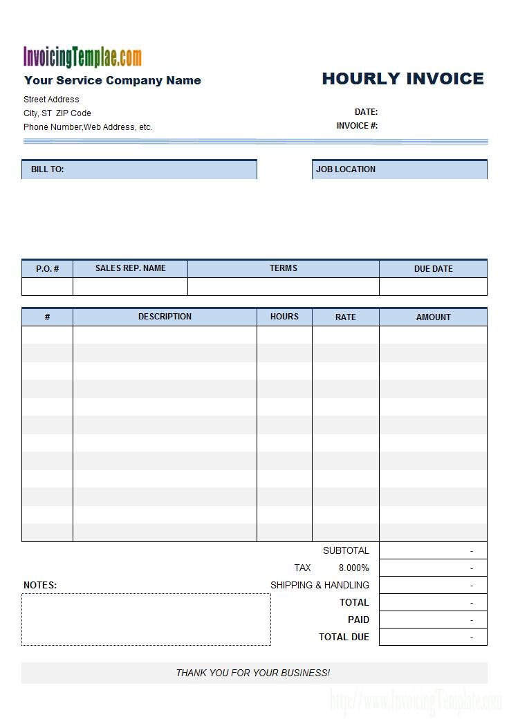 Hourly Billing Invoice Template Excel