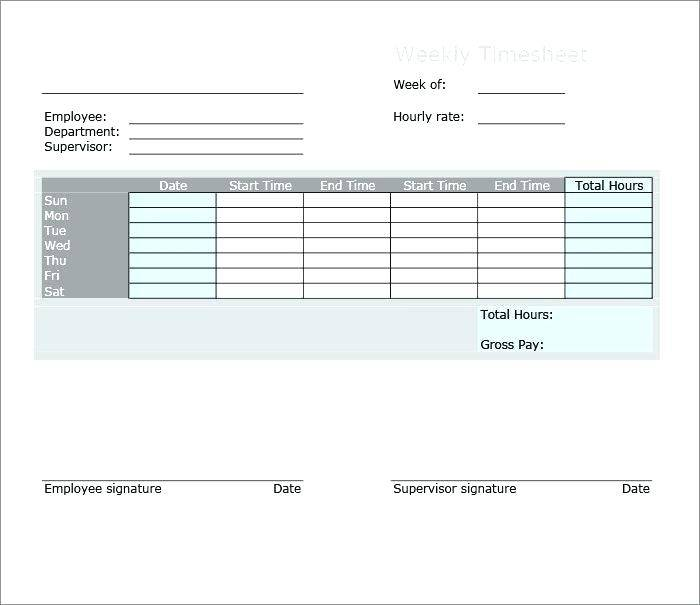 Hourly Timesheet Templates