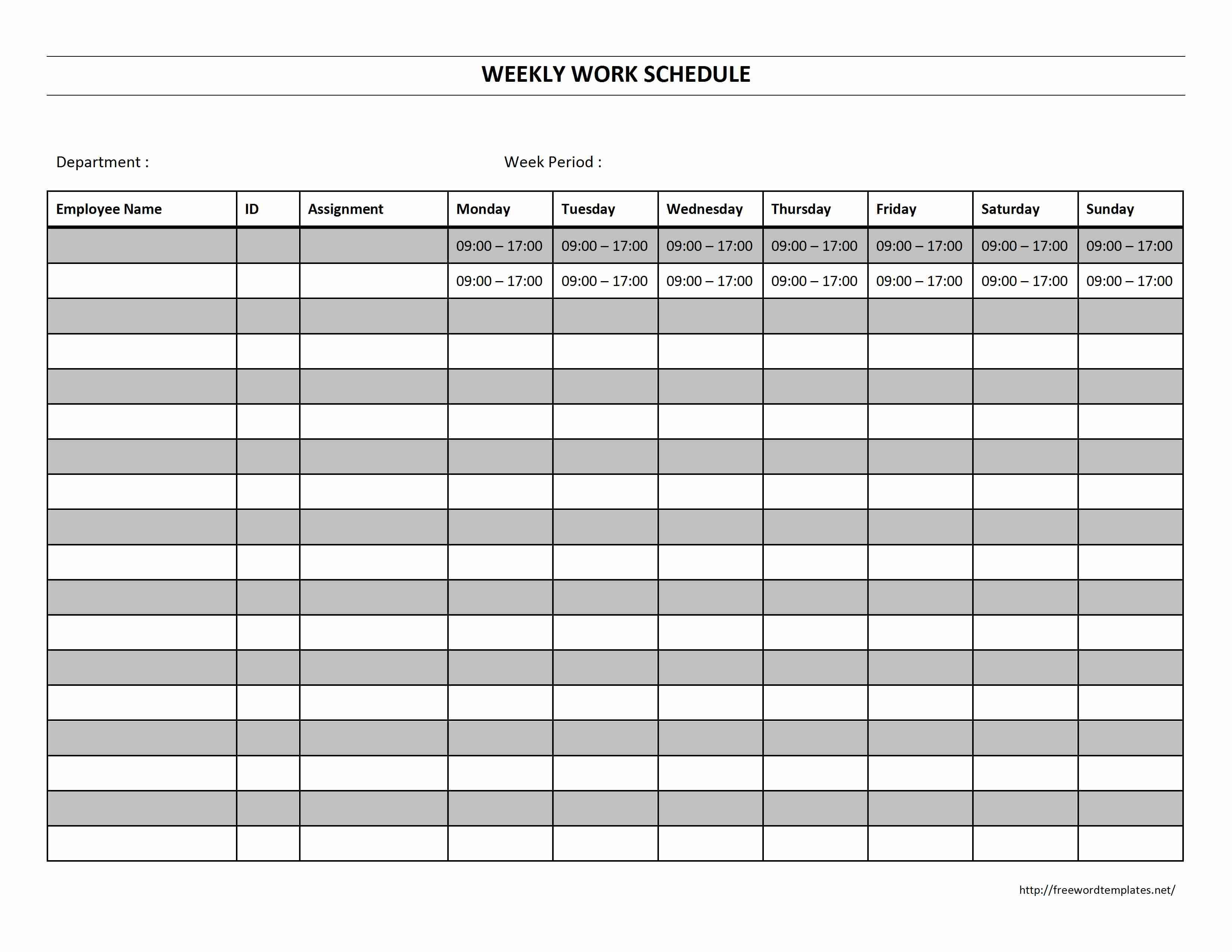 Hourly Work Schedule Template Word