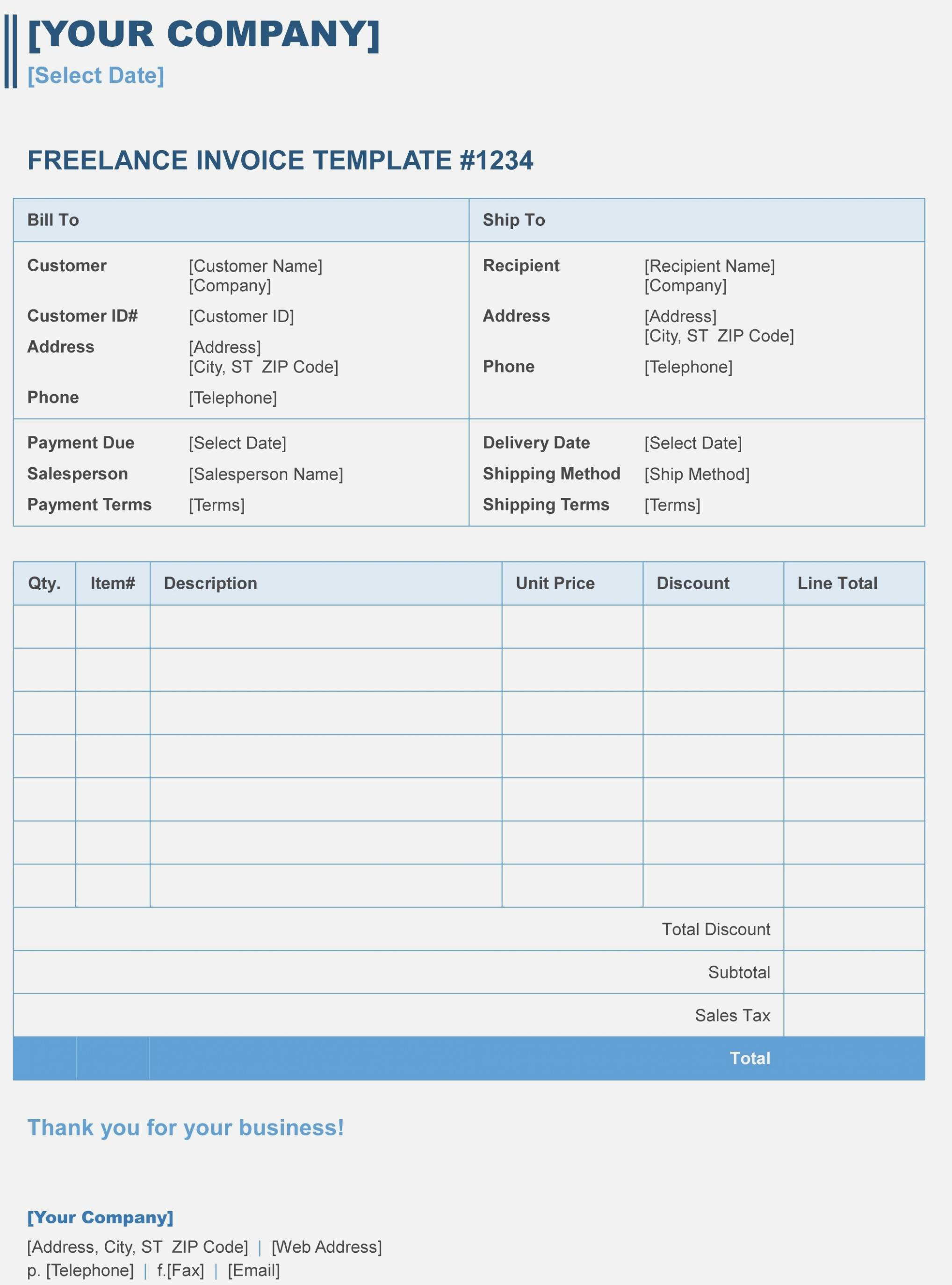 Hours Invoice Template Microsoft Word