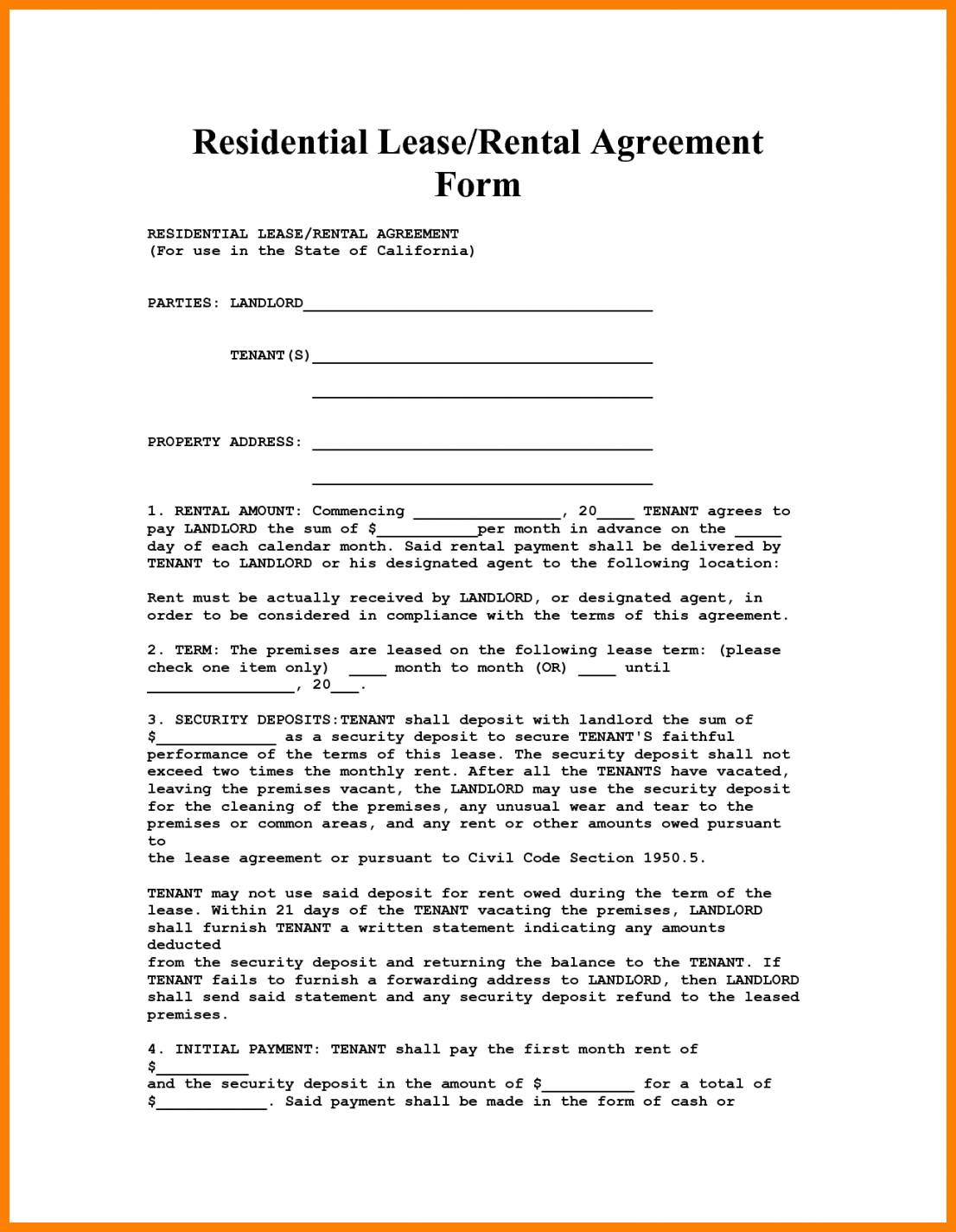House Rental Agreement Template Florida